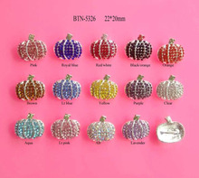 Free shipping 22*20mm Halloween pumpkin rhinestone embellishment button slider 10PCS/lot can mix colors(BTN-5326)
