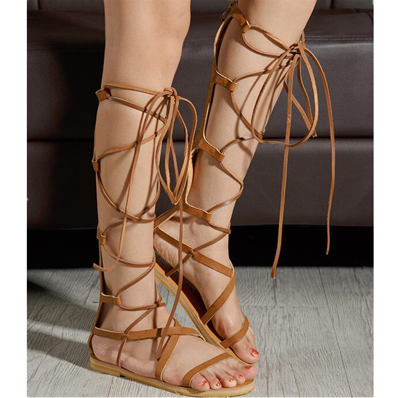 2017 Women Leather Strappy Knee High Gladiator Sandals Flats Roman Bandage Casual Shoes Cross Tied Sandal Shoes Flats XK020804<br>