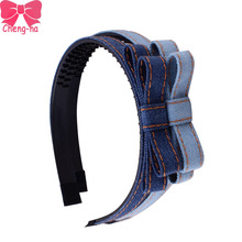 4pcs/lot Denim Fabric Hairband For Girls Fashion Bowknot Headbands Handmade Denim Hairbands hair Accessories for Women Girl