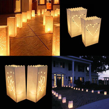 Buy 50 Pcs 25cm White Paper Lantern Candle Bag LED light Lampion Heart Romantic Birthday Party Wedding Event BBQ Decoration for $20.68 in AliExpress store