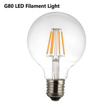 Edison Led Filament Bulb G80 Big Global light bulb 2W 4W 6W 8W filament bulb E27 clear glass indoor lamp AC220V 240V 110V