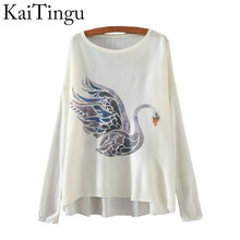 KaiTingu 2016 Brand New Fashion Autumn And Winter Women Sweater Pullover Long Batwing Sleeve Swan Print O-Neck Jumper Knitwear