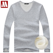 2018 Autumn Winter Fleece lined T shirt Fashion Men Velvet Undershirts Thermal Homme Casual V Neck Cotton Men's Long Johns S-5XL(China)