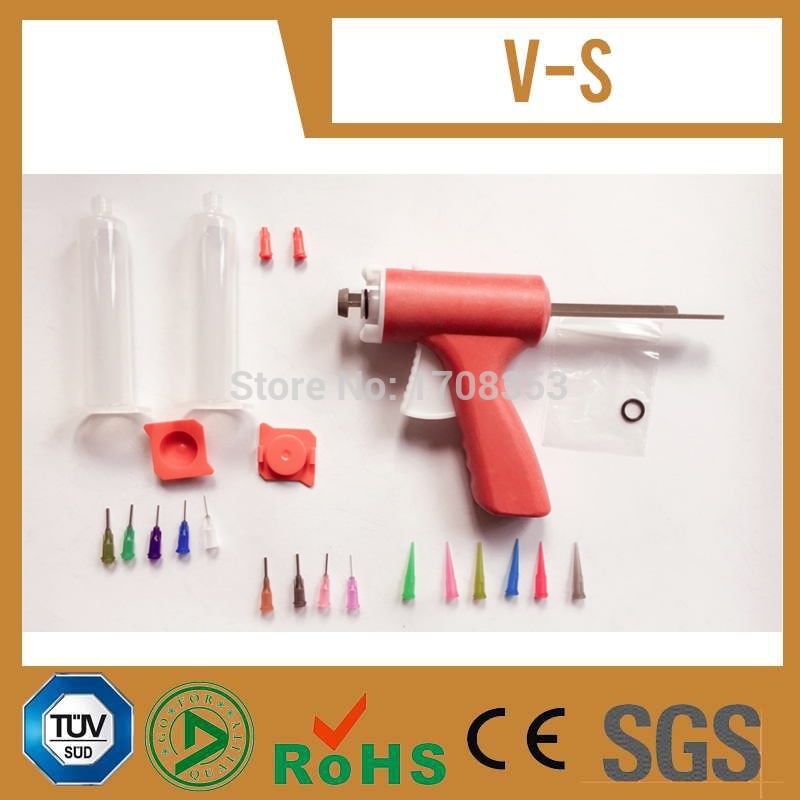 Manually single liquid glue gun 10CC Common 1PCS + 10CC cones + Dispensing Needle Tips + Syringe with Red cap and Red cover<br><br>Aliexpress