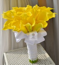 Artificial flower PU wedding flower bride holding flowers yellow flowers calla lily(China)