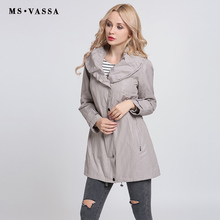 MS VASSA Women coats 2017 New Fashion Trench coats shawl collar Autumn ladies Spring classic style plus size 6XL 7XL outerwear(China)