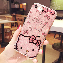 Luxury  fashion Kitty Flash Powder TPU Soft For apple iphone 7 protection case 4.7 inch 81710