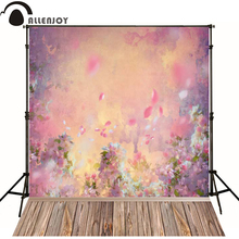 Allenjoy Photographic background Wood painting flower stitching newborn vinyl backdrops photography photocall camera fotografica(China)
