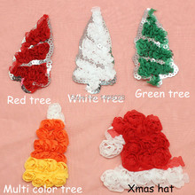 300 pcs/lot ,  headband christmas chiffon tree , santa hat  ,   headbands shabby  flowers
