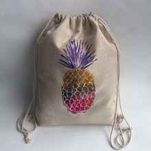 pineapple Print Custom Vintage Outdoor Beach Gym Swimming Clothing Shoes Storage Bag Drawstring Backpack(China)