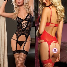 Female Plus Size Lingerie Lace Corset Dress+Handcuff+Thongs Teddy Badydoll SL34(China)