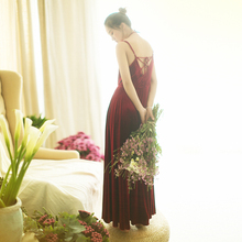 MM126 New Arrival 2017 elegant sundress lace up back spaghetti straps a line long maxi women velvet vintage dress burgundy