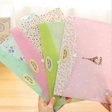 1 Pieces New Cute Tower Flower A4 pouch bag case cute Korean Office School Filing Products Document(China)