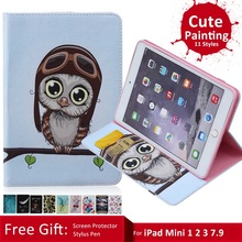 Case for iPad Mini 1 2 3 Gen, GARUNK Owl Flower Tower Painting Flip PU Leather Card Holder Stand Cover Funda for iPad Mini 1 2 3