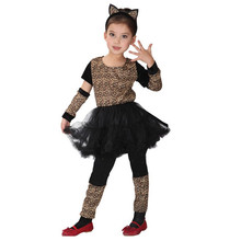 Fancy Girls Animal Leopard Cosplay Anime Masquerade Party Kids Children Christmas Gift Cat Kitty Stage performance Costumes(China)