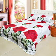 Hot 4pcs 3D Printed Bedding Set Bedclothes Red Rose in Full Bloom Queen/King Size Duvet Cover+Bed Sheet+2 Pillowcases(China)