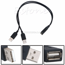 30cm Double USB 2.0 A Male To USB A Female Y Cable Extension Cord Power Adapter #H029#(China)