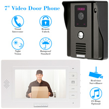 "KKmoon 7"" Video Door Phone Intercome Doorbell Night Vision Rainproof CCTV Security Camera Remote Unlock Home Security TP01H-11(China)"