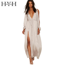 HYH HAOYIHUI Women Dress Solid Apricot Cold Shoulder Party Vestidos Long Sleeve Plunge Neck Split Elegant Maxi Dress(China)