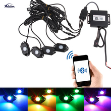 Multi-Color RGB LED Rock Light 4Pcs Kit with Bluetooth Controller ,Timing Function, Music Mode for Cars Truck Exterior 4 Wheele