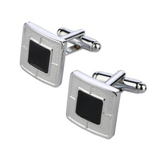 Buy 2017 Men Cuff Links Black Gem Enamel Silver Tone Square Shirt Cuff Cuff links Wedding Best Man Usher New for $1.36 in AliExpress store