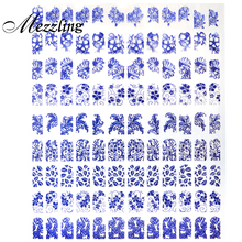 Blue Flowers 3d Nail Art Stickers Decals,1sheet(108pcs) Self Adhesive Metallic Nail Decoration,DIY Design Stylish Nail Tools