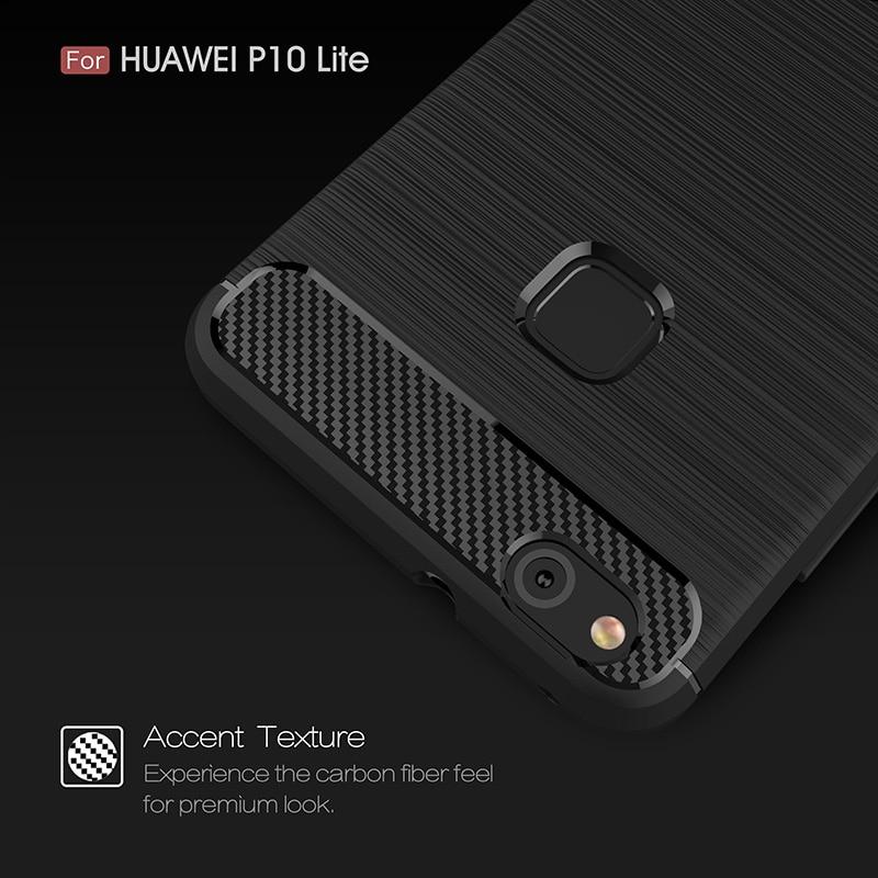 carbon fiber brushed silicone case huawei P10 Lite (3)