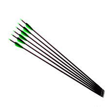 "6 Pcs 30"" Archery Carbon  Arrows with Replaceable Arrowheads and Plastic Feathers Spine 500 Fit for 55lb Recurve/Compound Bow"