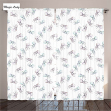 Curtains White Green Pink Underwater Decor Collection Jellyfish Wild Deep Undersea World Living Room Bedroom 2 Panels 145*265 sm