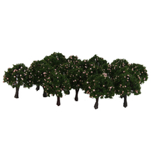 20pcs 4cm Scenery Landscape Train Model Trees w/ Pink Peach Fruit 1/300 Model Building Kits Doll House Decoration Accessory
