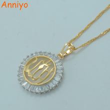 Anniyo Zircon Allah Necklaces Islamic Muhammad Jewelry Light Gold Color Middle East Muslim Pendant Chain #014104