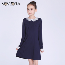 Dress Girl Long Sleeve Detachable Collar Knee-Length O-neck A-Line 2017 New Winter Children Dresses Size 7 8 9 10 11 12 Years(China)