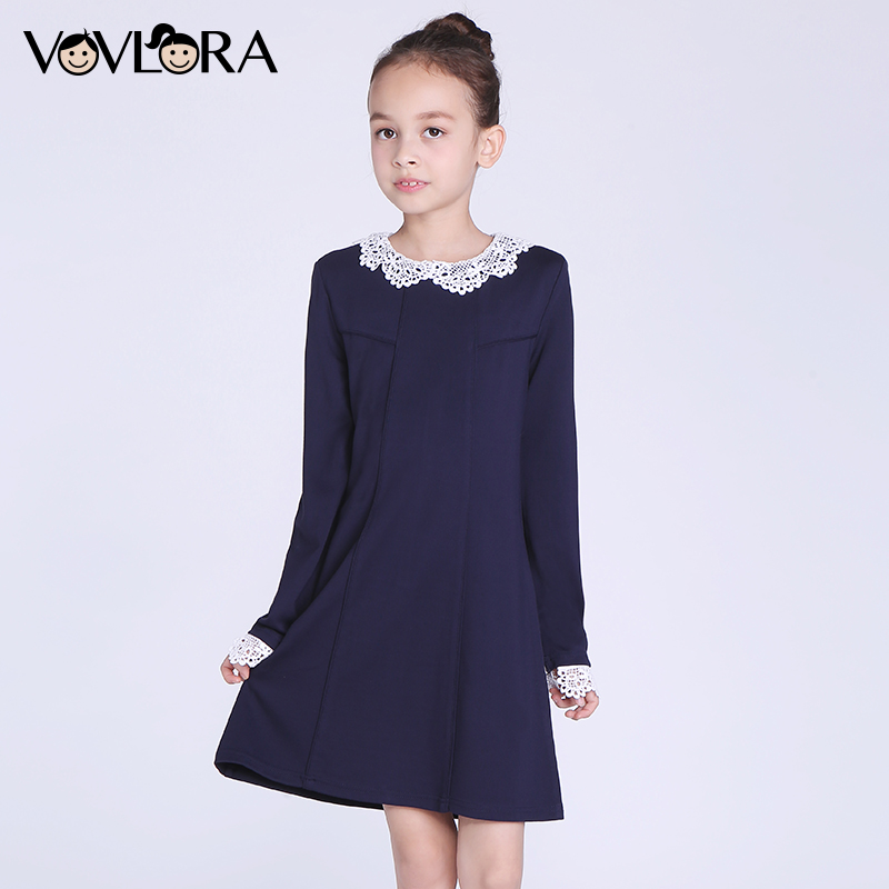 Dress Girl Long Sleeve Detachable Collar Knee-Length O-neck A-Line 2017 New Winter Children Dresses Size 7 8 9 10 11 12 Years<br>