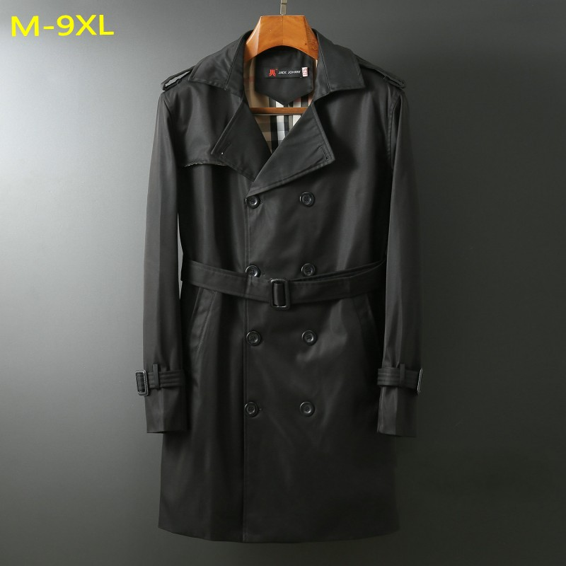 autumn  plus size M-6xl 9xl 8xl men velvet Trench turn-down collar loose double breasted X-long  jacket  Sashes big size coats