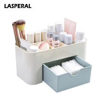 LASPERAL Plastic Cosmetic Storage Box With Small Drawer Multi-functional Jewelry Box Desk Sundries Storage Container Organizer(China)