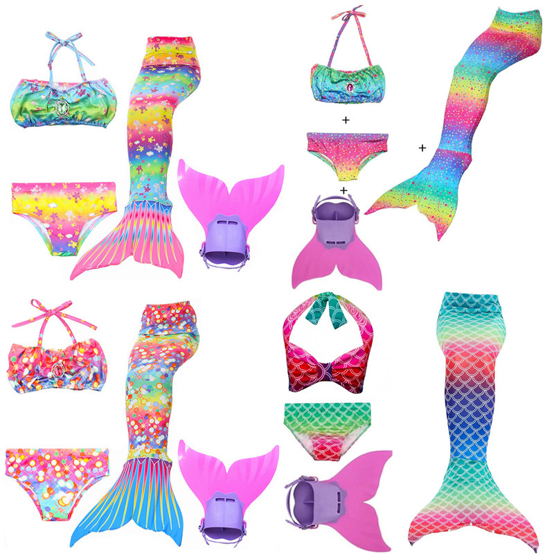 Swimmable Mermaid tail Bikini 3PCS No Monofin Princess Girls Kids swimwear Cos