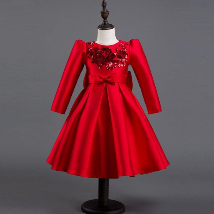 Satin Flower Girl Dress Red Sequin Princess Tutu Party Wedding Dresses for Girls Christmas Style Kids Dress 4-12T<br>