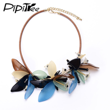 Fashion Women Collares Acrylic Flower Choker Necklace Leather Rope Unique Jewelry Brand Charm Necklaces & Pendants Collier Femme