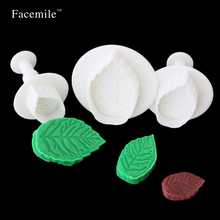 Facemile 3pcs Fondant Rose Leaves Mold Cake Cutter Cookies Sugarcraft Decorating Tool Cake Baking DIY Tools Cake Cutters 01067