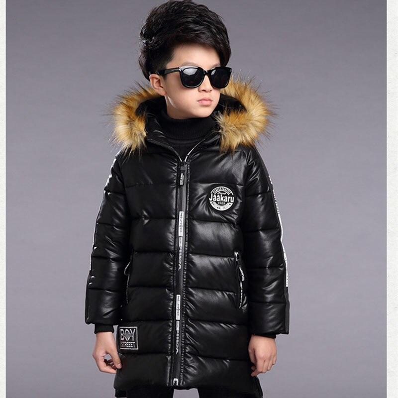 2017 Children Winter Coats Boys Winter Waterproof Jacket Thickening Warm Hooded Boys PU Leather Jackets Fashion Boys OuterwearÎäåæäà è àêñåññóàðû<br><br>