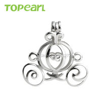 SWP27 Topearl Jewelry 5pcs/LOT Carriage Cage 925 Sterling Silver Love Wish Pearl Pendant