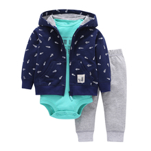 2017 new limited Baby boy clothes set 3pcs autumn spring coat + long sleeve rompers + pants Infant Cloth Newborn hooded coat