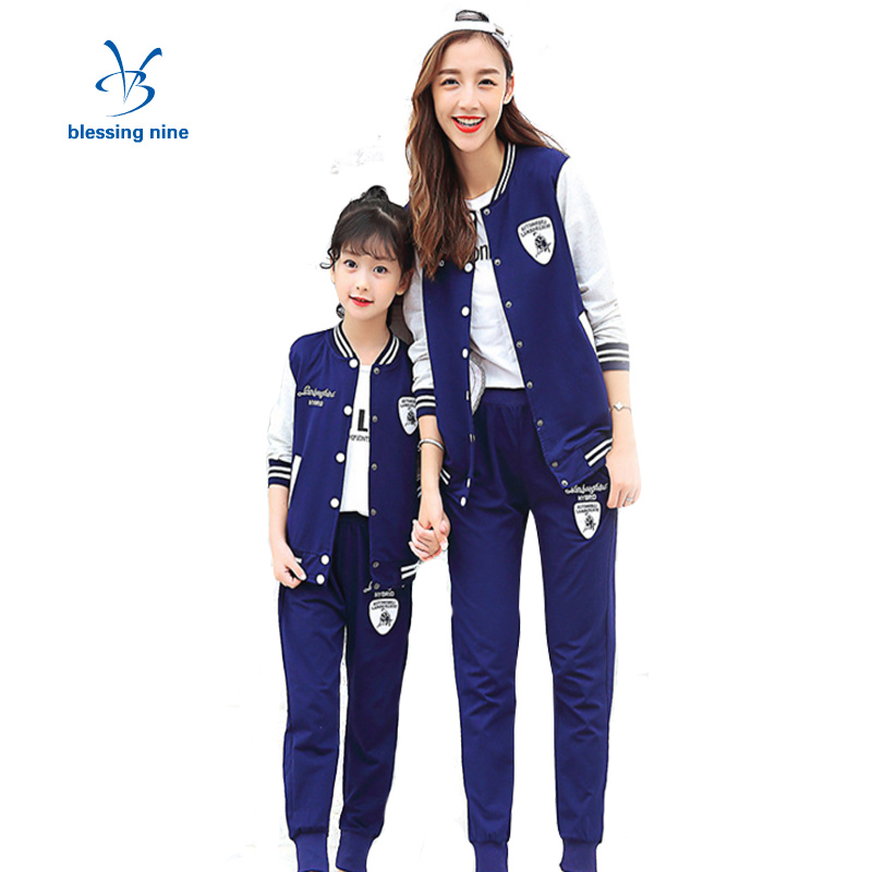 Matching Family Mother Kid Clothing Set Cotton Sports Suit Leisure Mum and Daughter Clothes Sets Mommy and Me Outfits Autumn<br>