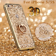 Luxury 3D Mosaic Rose Diamond Gold Ring Phone Cover For iPhone 5 6 6s 7 8 plus X Phone Cases soft plating TPU Anti Knock Covers(China)