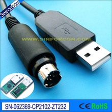 Android, mac, win10, linux, Win CE, cp2102 usb serial rs232 adapter cable with mini DIN 6P or 8P male