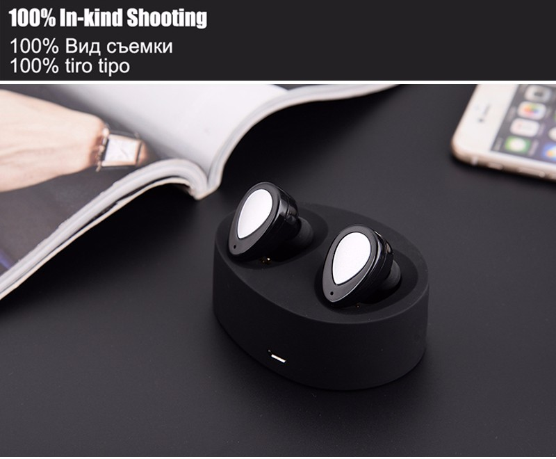 Mini Binaural Bluetooth Stereo Headset Invisible Wireless Bluetooth Earphone Hands-free Dual Ears Earbuds With Charging Box #3