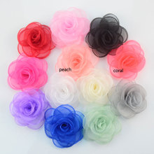 12pcs girls hair clips burned edge organza rose flower with clip,cute hair flowers black white ivory peach red mint pink
