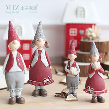 Miz 1 Pair Red Resin Figurines Christmas Gifts for Kids Couple Doll Collection Fairy Christmas Decoration Ornament(China)