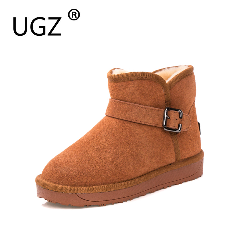 UGZ Woman Shoes Winter Ankle Snowboots Genuine Leather Casual Flat Warm Wool Blend Inside Boots 35-39<br>