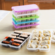 1PC10 Grids Dumplings Storage Box Reusable Plastic Food Storage Containers with Lids Food Storage Box Microwave Sushi Organizer
